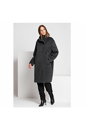 Fine Women's Wool Coat In Grey