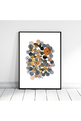 Minimalist Wall Art, Abstract Watercolor Art, Brown Grey Print, Connections