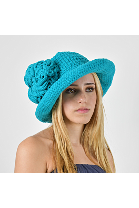Turquoise Flower Brimmed Hat