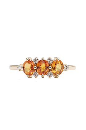 14kt Yellow Gold Natural Double Sapphire & Diamond High Quality Engagement Ring