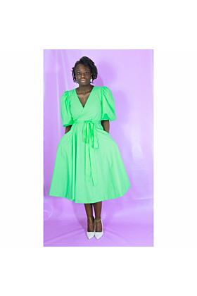 Cotton Wrap Dress with Short Bubble Sleeves