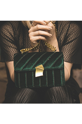 Valentina Velvet Crossbody Bag In Green