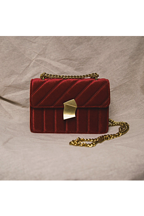 Valentina Velvet Crossbody Bag | Red