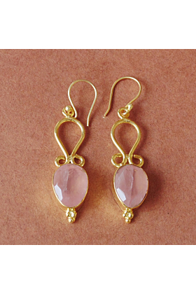 Handcrafted Natural Rose Quartz Birthstone Bridal Wedding Dainty Earrings