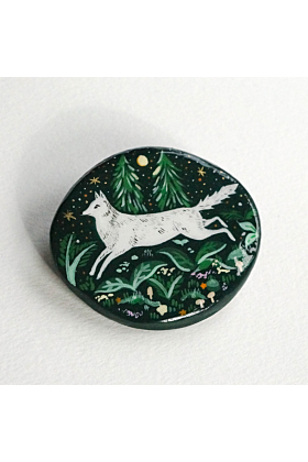 Forest Wolf Miniature Painting Brooch