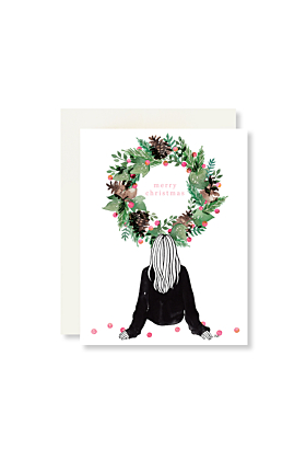 Wreath and Sitting Merry Christmas Card