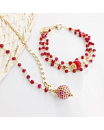 Red Ruby and Pink Sapphire Cinta  Necklace