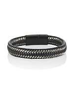 Steel and Leather Bangle Bracelet for Men