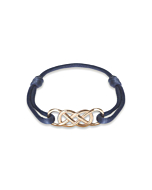 Rose Gold Infinity Ibiza Bracelet With Navy Blue Ribbon | INFINITY by Victoria
