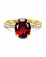 14kt Yellow Gold Vermeil Harlow Red Garnet Ring with White Topaz