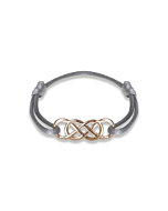 Rose Gold Infinity Ibiza Bracelet With Grey Ribbon | INFINITY by Victoria