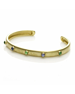 18kt Yellow Gold Bangle With Emerald And Sapphire