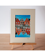 Matted Fine Art Print | Red Painted Stepped Sable Houses In Bruges