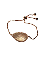 Rose Gold Plated Abstract Halo Bracelet With Clear Glass Stone