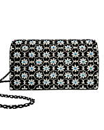 Velvet Black Silver Turquoise Clutch Bag