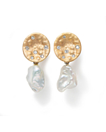 9kt Yellow Gold Earrings with White Pearl Drop & Diamonds