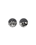 Black Porcelain Earrings with Platinum