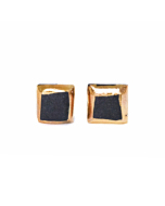 Porcelain Square Earrings with Gold