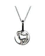 Sterling Silver Aries Zodiac Sign Charm Necklace