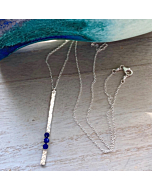 Sterling Silver Long Lapis Wrapped Stick Necklace