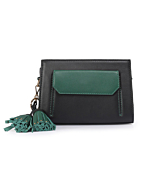 Black-Green Leather Fanny Bag