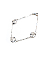 Sterling Silver Kiss Hug Three Large Components Bracelet