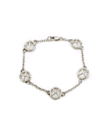 Sterling Silver Kiss Hug Five Large Components Bracelet