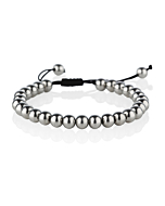 Stainless Steel Large Bead Bracelet on Adjustable Black Cord