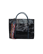 Shiny Black Vegan Leather Tote