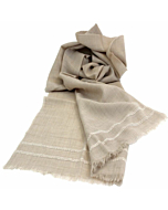 Hand Embroidered Shadow Shawl Scarf | Taupe