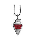 Sterling Silver & Red Salmon Leather Rán Pendant | Nord Collection