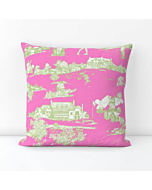 Cotton Hamptons Golf Pillow in Pink Sorbet and Willow