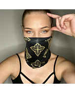 UV and COVID Protection Bandana in Black and Gold