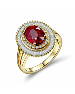 14kt Yellow Gold Ruby Ring with Diamond Double Row
