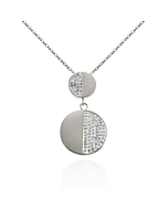 Stainless Steel Double Disc Pendant Necklace with Swarovski Crystals