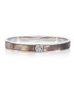 Silver Brown Leather Wolf Bangle