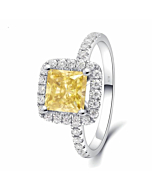 14kt White Gold Yellow Diamond Moissanite Ring with Accent Stones