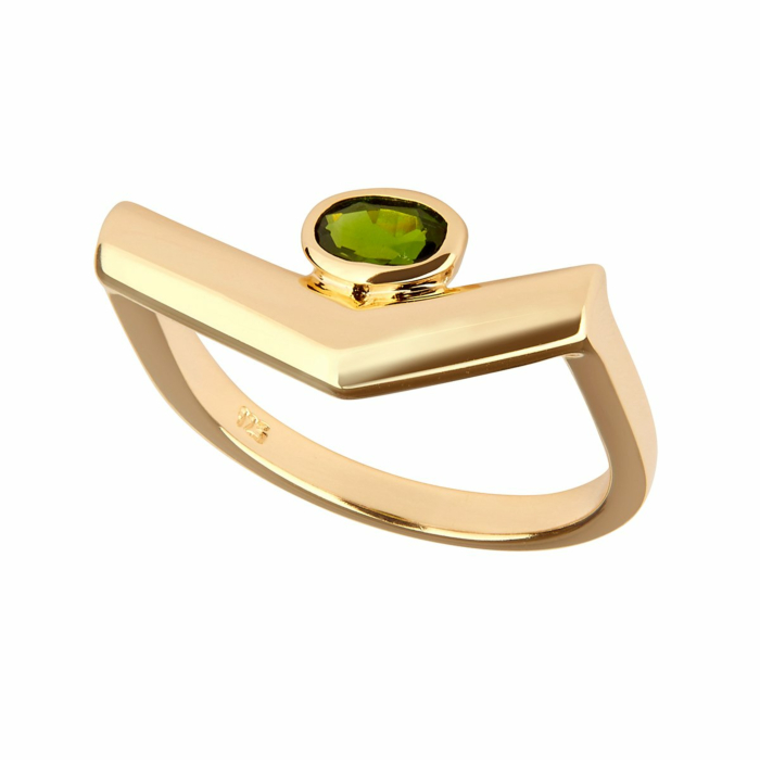 14kt Yellow Gold Plated Sterling Silver Chrome Diopside Simple Ring