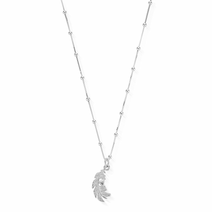 Sterling Silver Bobble Chain Heart in Feather Necklace