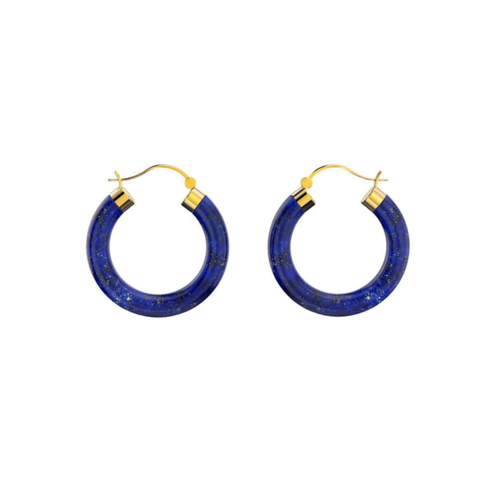 Yellow Gold Plated Sterling Silver Lapis Lazuli Hoop Earrings