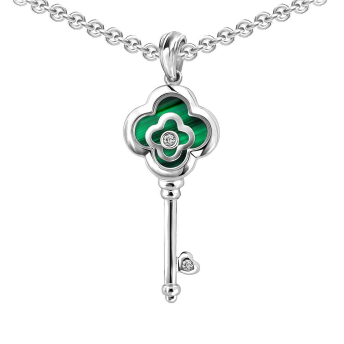White Gold, Diamonds & Malachite Flower Key Pendant | Chekotin Jewellery