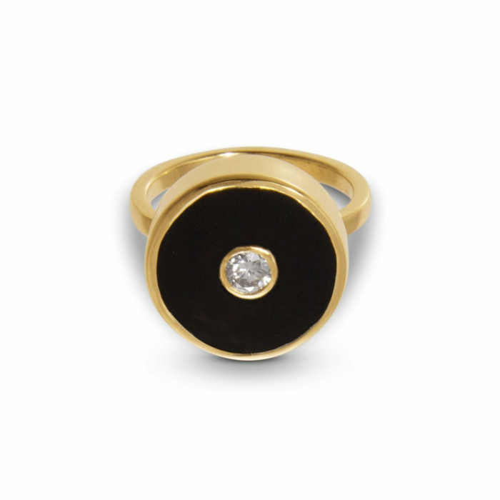 Europa Diamond and Black Onyx Ring