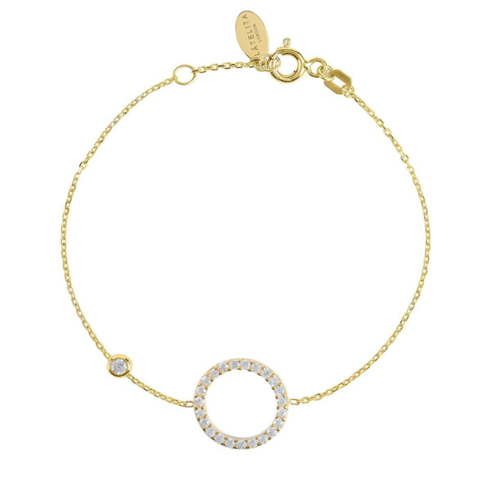 Yellow Gold Plated Sparkling Halo Circle Bracelet