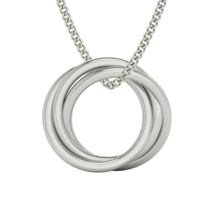 Alexandra Russian Rings Necklace In Sterling Silver