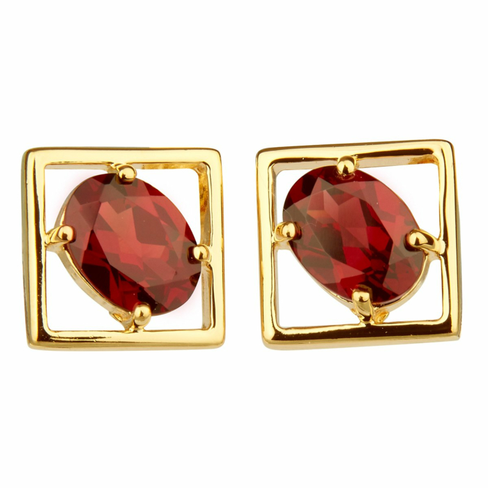 14kt Yellow Gold Plated Sterling Silver Red Garnet Charming Small Earrings