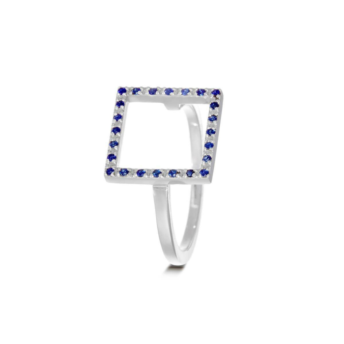 Sterling Silver & Sapphire Dark Blue Square Ring