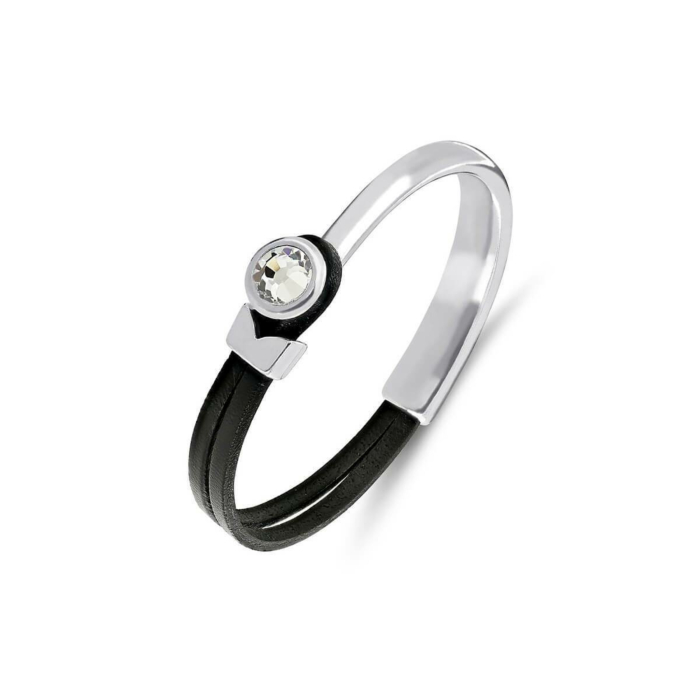Poppy Black & Silver Leather Bracelet