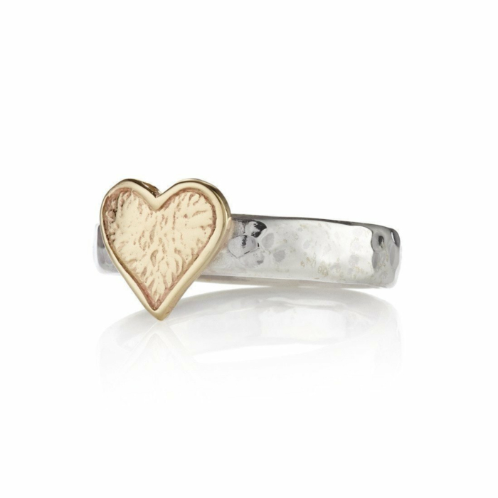 Hammered Sterling Silver Band With 9kt Heart