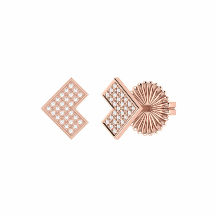 14kt Rose Gold Plated One Way Stud Earrings