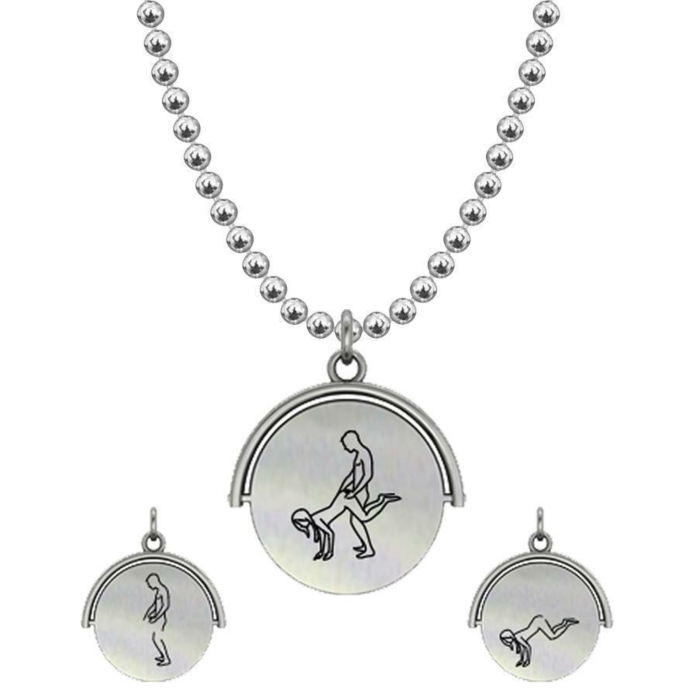 Allumersutra 13MM Silver Pendant Necklace - Girl And Boy - The Plough